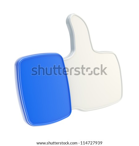 Thumb up like glossy plastic dimensional blue icon isolated on white background - stock photo