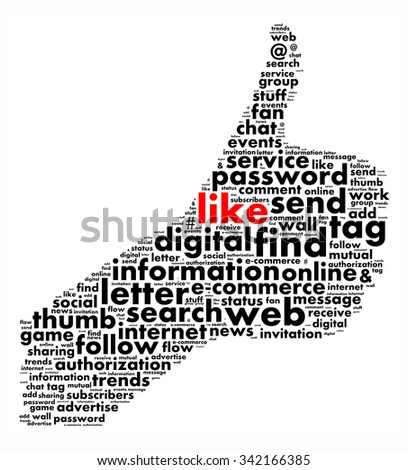 Thumb up like  illustration word cloud concept
