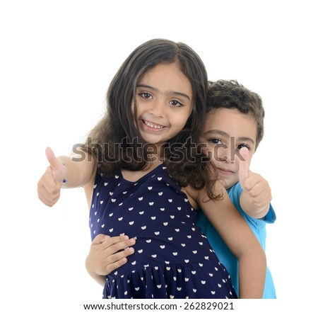 Thumb Up Little Happy Boy and Girl Isolated on White Background - stock photo