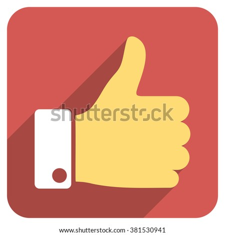 Thumb Up long shadow glyph icon. Style is a flat symbol on a red rounded square button. - stock photo