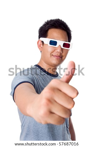 Thumb up of 3D movies - stock photo