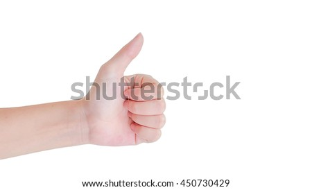 thumb up of hand  isolated with clipping path