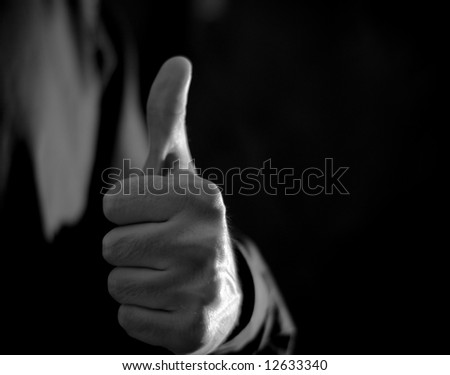 Thumb-up Sign - Black and White - stock photo