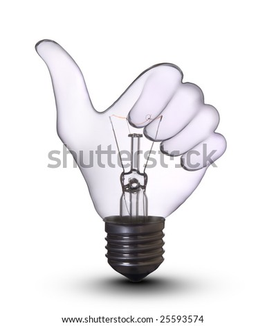 Thumb Up Sign Gesture Hand lamp bulb. Lightbulb Concept of Business Success, Saving Energy and Ecology Environment - stock photo