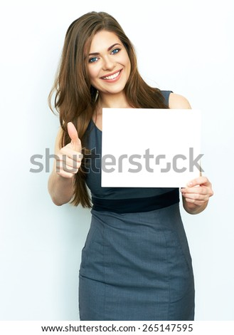 Thumb up. Smiling business woman hold white advertising  board. White card. Isolated portrait. - stock photo