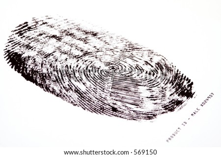 Thumbprint of an hypothetical human male clone with a barcode ID - stock photo