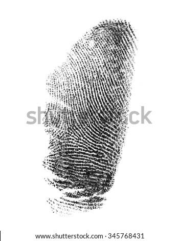 Thumbprint on a white background - stock photo
