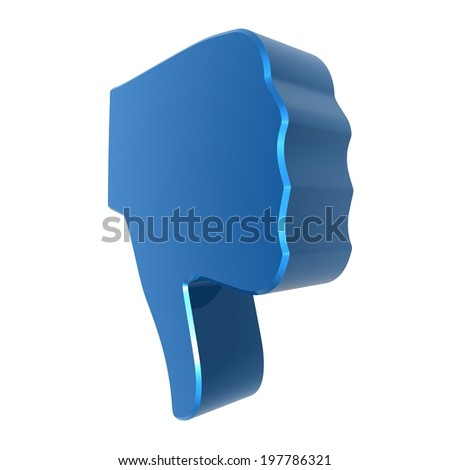 Thumbs down sign - blue . 3d render. White background.  - stock photo