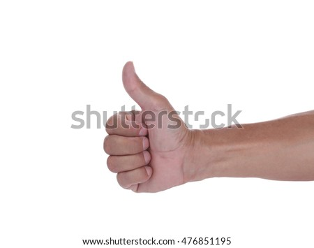Thumbs up against a white background