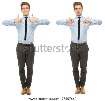 Thumbs up and down - stock photo