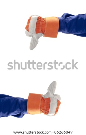 Thumbs up and down isolated with white background - stock photo