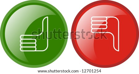 thumbs up and down sign - stock photo