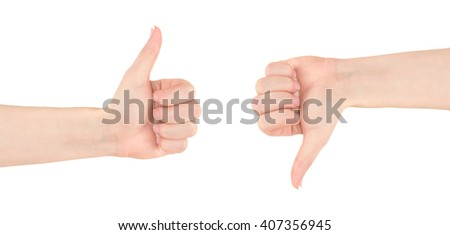 Thumbs up and down,  woman hand isolated on white - stock photo