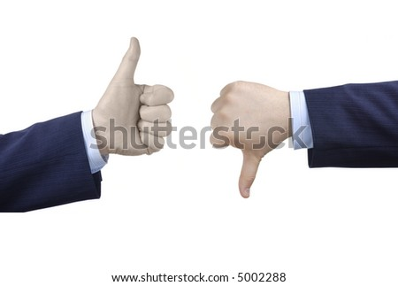 Thumbs up and thumbs down - stock photo