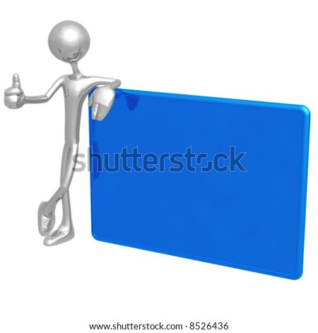 Thumbs Up Blank Sign - stock photo