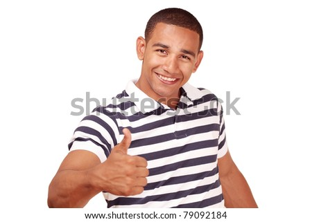Thumbs up - by smiling confident latino male