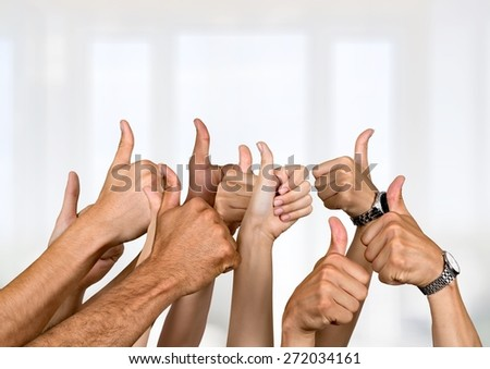 Thumbs Up. Cheering - stock photo