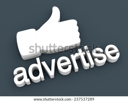 Thumbs up for Advertising. 3D rendered Illustration.
