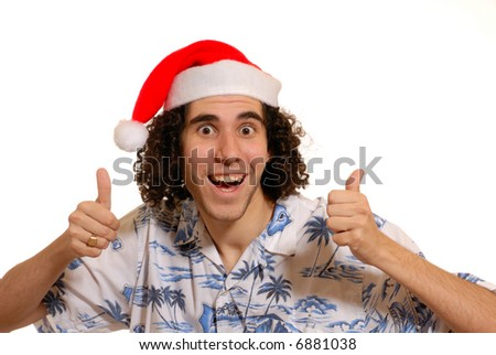 thumbs up for Christmas - humorous young man, isolated on white - stock photo