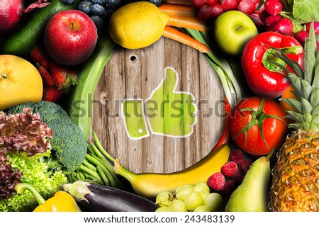Thumbs up for fruit and vegetables - stock photo