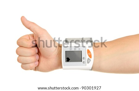 Thumbs Up for Healthy Blood Pressure isolated on white background - stock photo