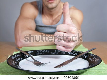 Thumbs up for healthy diet - stock photo