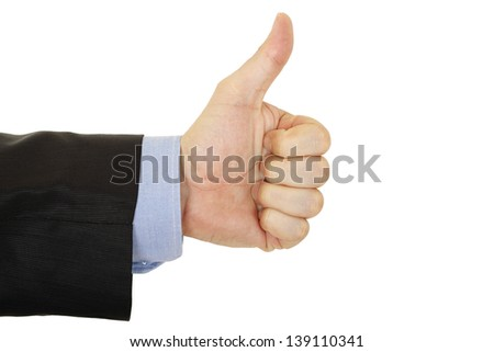 thumbs up gesture from man - stock photo