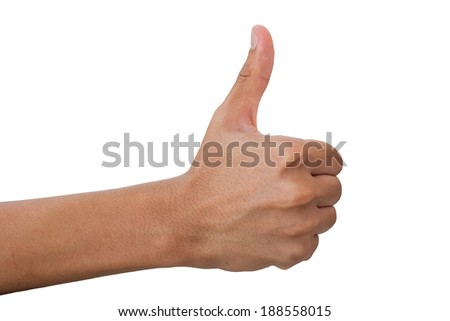 Thumbs up hand sign isolated on white background.