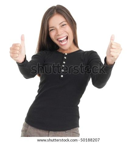 Thumbs up happy woman isolated on white. Mixed race chinese / caucasian model. - stock photo