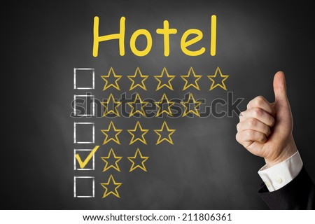 thumbs up hotel golden star rating chalkboard