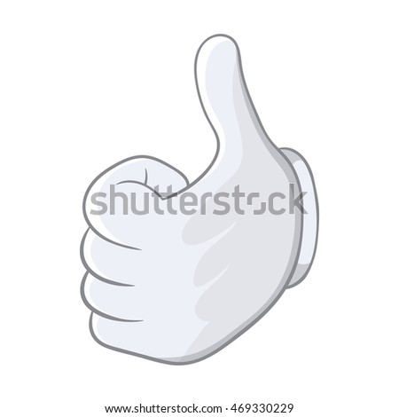 Thumbs up icon in cartoon style isolated on white background. Gesture symbol