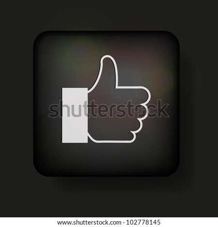 thumbs up icon on black - stock photo