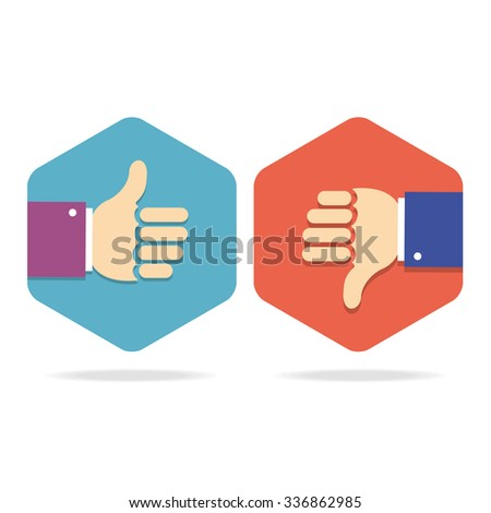 Thumbs Up Icons Set. Flat Style for Social Network. illustration - stock photo