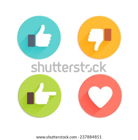 Thumbs up icons set. Flat style social network icon for app and web site - stock photo