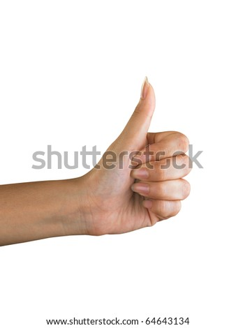 Thumbs up, isolated on plain background.