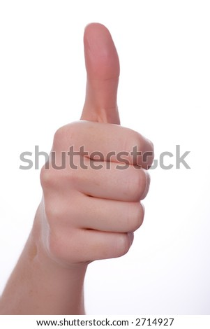 Thumbs up. Isolated on white. - stock photo