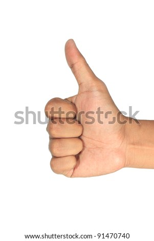 Thumbs up isolated with white background.