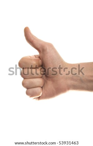 Thumbs up man's hand isolated on white background - stock photo