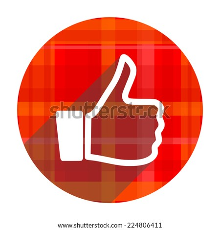 thumbs up red flat icon isolated