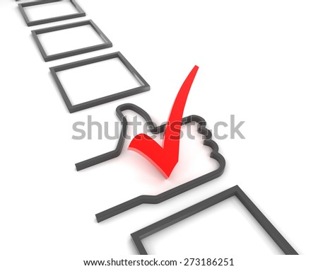 Thumbs up shaped checkbox with tick, 3d render - stock photo