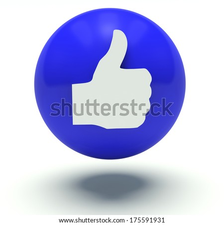 Thumbs up sign. 3d render illustration. Isolated on white background.  - stock photo