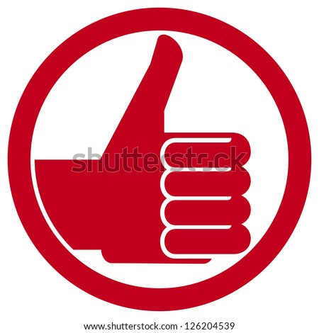 thumbs up symbol (hand showing thumbs up, human hand thumbs up, thumbs up badge, like icon, like symbol) - stock photo