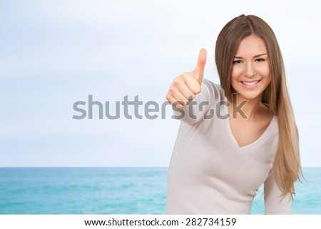 Thumbs Up, Teenager, Cool. - stock photo
