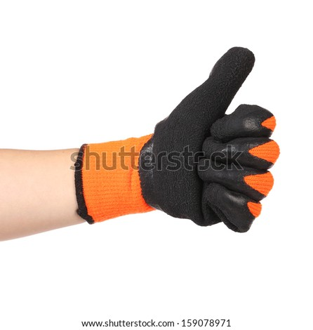 Co Sleeper Organic Mattress Thumbs up with a black rubber glove. Isolated on a white background