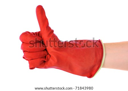 Thumbs up with a red  glove on white