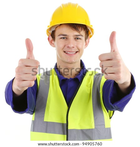 Thumbs up worker, isolated on white. - stock photo