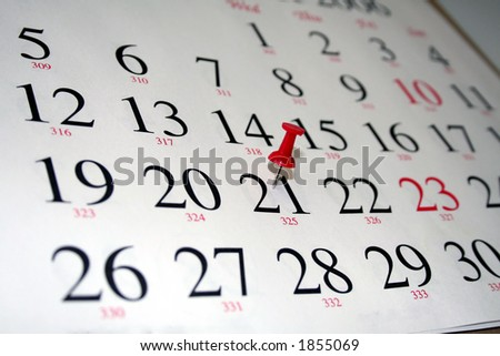 thumbtack marking a date - stock photo