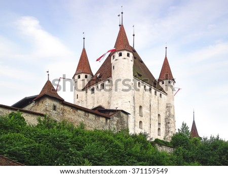 THUN, SWITZERLAND - JUNE 15, 2015: The Thun castle. It was built in the 12th century, today houses the Thun Castle museum. - stock photo