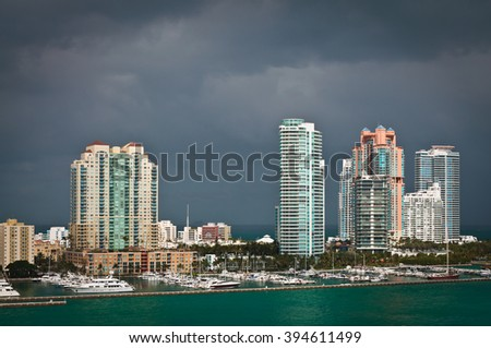 Thunder clouds over the South Point of Miami Beach