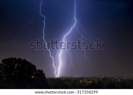 thunder lightning and storm - stock photo